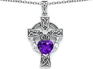 Celtic Love by Kelly Claddagh Cross pendant with 7mm Heart Shape Simulated Amethyst in Sterling Silver