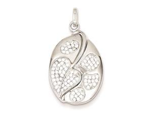Sterling Silver Micro Pave Heart and Circles Oval Pendant Necklace Chain Included
