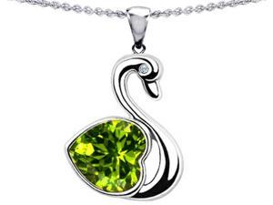 Star K Large Love Swan Pendant with 8mm Heart Shape Simulated Peridot in Sterling Silver
