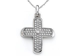 Zoe R Sterling Silver Micro Pave Hand Set Cubic Zirconia CZ Medium Cross Pendant On 18
