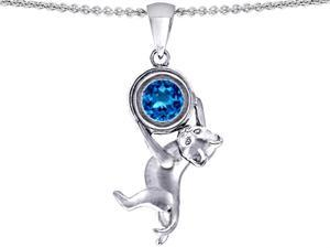 Star K Cat Lover Pendant with December Birth Month Simulated Blue Topaz in Sterling Silver