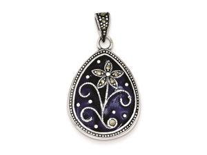 Sterling Silver Marcasite Blue Enamel Teardrop Flower Pendant Chain Included
