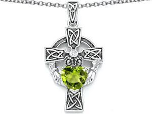 Celtic Love by Kelly Claddagh Cross pendant with 7mm Heart Shape Simulated Peridot in Sterling Silver