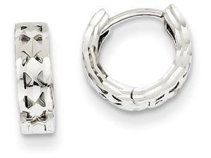 14k White Gold Bright-cut Hinged Hoop Earrings