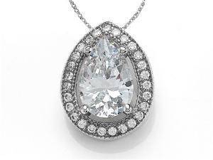Zoe R Sterling Silver Micro Pave Hand Set Cubic Zirconia CZ Pear Shape Pendant Necklace