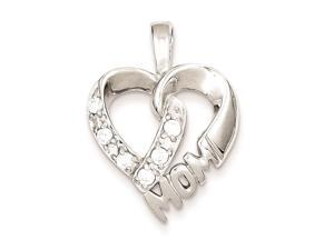 Sterling Silver Cubic Zirconia Heart Mom Pendant Chain Included