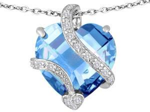 Star K Large 15mm Heart Shape Simulated Aquamarine Love Pendant Necklace in Sterling Silver