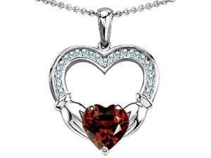 Celtic Love by Kelly Hands Holding 8mm Heart Claddagh Pendant with Simulated Garnet in Sterling Silver