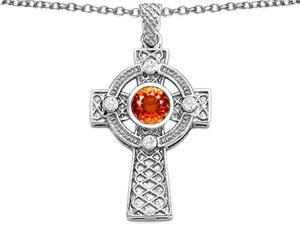 Celtic Love by Kelly Cross pendant 7mm Round Simulated Orange Mexican Fire Opal in Sterling Silver