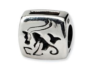 Reflections Sterling Silver Capricorn Zodiac Antiqued Bead / Charm