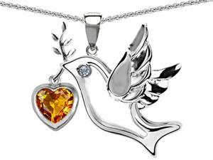 Star K Peace Love Dove Pendant with 7mm Heart Shape Simulated Citrine in Sterling Silver