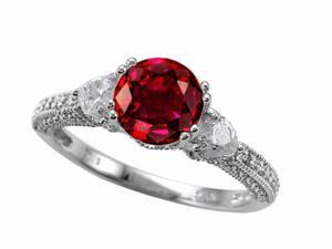 Star K 7mm Round Created Ruby Ring in Sterling Silver Size 6