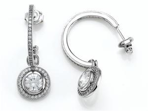 Zoe R Sterling Silver Micro Pave Hand Set Cubic Zirconia CZ One Row Medium Hoop Earrings and Round Dan