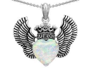 Star KTrue Love Heart Shape Simulated Opal Crown Wings Pendant in Sterling Silver