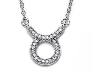 Zoe R Sterling Silver Micro Pave Hand Set Cubic Zirconia CZ Taurus Zodiac Pendant On 18 Inch Adjustable Chain