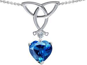 Celtic Love by Kelly Love Knot Pendant with Heart Shape 8mm Simulated Blue Topaz in Sterling Silver