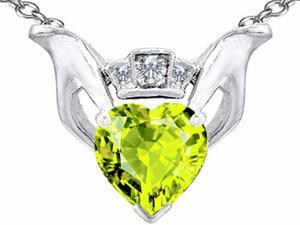 Celtic Love by Kelly 8mm Heart Claddagh Pendant with Simulated Peridot in Sterling Silver