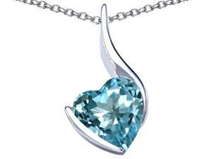 Star K Large 10mm Heart Shape Simulated Aquamarine Heart Pendant in Sterling Silver