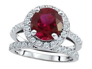 Star K 8mm Round Created Ruby Wedding Set in Sterling Silver Size 6