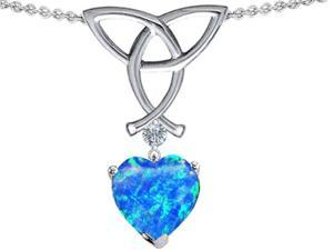Celtic Love by Kelly Love Knot Pendant with 8mm Heart Shape Blue Simulated Opal in Sterling Silver