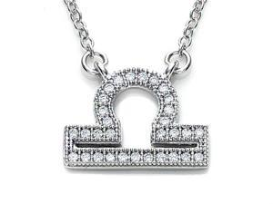 Zoe R Sterling Silver Micro Pave Hand Set Cubic Zirconia CZ Libra Zodiac Pendant Necklace On 18 Inch Adjustable Chain