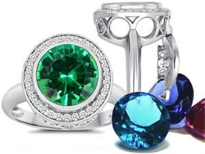 Switch-It Gems Round 10mm Simulated Emerald Ring with 12 Interchangeable Simulated Birth Months Sterling Silver Size 6
