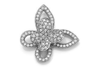 Zoe R Sterling Silver Micro Pave Hand Set Cubic Zirconia CZ Butterfly Pendant