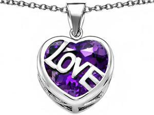 Star K Large Love Heart Pendant with 15mm Heart Shape Simulated Amethyst in Sterling Silver