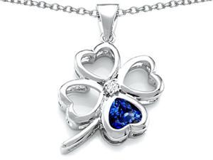 Celtic Love By Kelly Large 7mm Heart Shape Created Sapphire Lucky Clover Heart Pendant in Sterling Silver