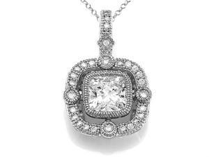 Zoe R Sterling Silver Hand Set Cushion Cut Cubic Zirconia CZ Pendant