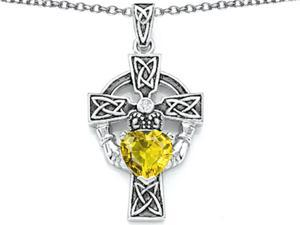 Celtic Love by Kelly Claddagh Cross pendant with 7mm Heart Shape Simulated Citrine in Sterling Silver