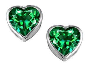 Star K 7mm Heart Shape Simulated Emerald Heart Earrings Studs in Sterling Silver