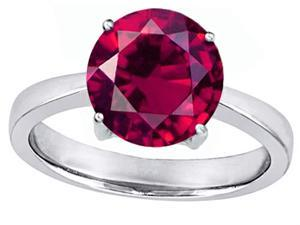 Star K Large Solitaire Big Stone Ring with 10mm Round Created Ruby in Sterling Silver Size 8
