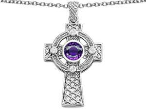 Celtic Love by Kelly Celtic Cross pendant with 7mm Round Simulated Amethyst in Sterling Silver
