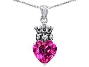 Star K Created Pink Sapphire Heart Crown True Love Pendant in Sterling Silver