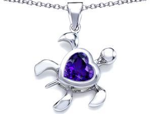 Star K Large 10mm Heart Shape Simulated Amethyst Sea Turtle Pendant in Sterling Silver