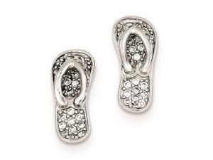 Sterling Silver Cubic Zirconia Flip-flops Post Earrings