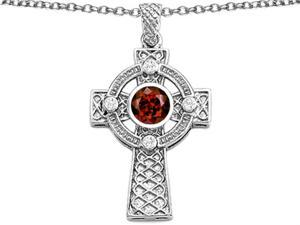 Star K Celtic Cross pendant with 7mm Round Simulated Garnet in Sterling Silver