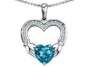 Celtic Love by Kelly Hands Holding 8mm Heart Claddagh Pendant with Simulated Blue Topaz in Sterling Silver