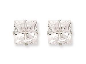 Sterling Silver 9mm Square Cubic Zirconia 4 Prong Stud Earrings