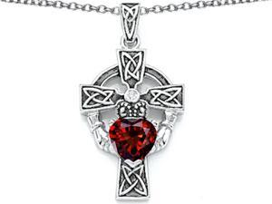 Celtic Love by Kelly Claddagh Cross pendant with 7mm Heart Shape Simulated Garnet in Sterling Silver