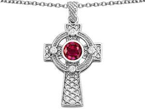 Celtic Love by Kelly Celtic Cross pendant with 7mm Round Created Ruby in Sterling Silver