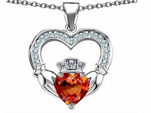 Celtic Love by Kelly Hands Holding 8mm Crown Heart Claddagh Pendant with Simulated Orange Mexican Fire Opal