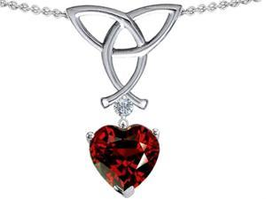 Celtic Love by Kelly Love Knot Pendant with 8mm Heart Shape Simulated Garnet in Sterling Silver