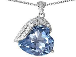 Star K Angel Wing of Love Pendant with Heart Shape Simulated Aquamarine in Sterling Silver