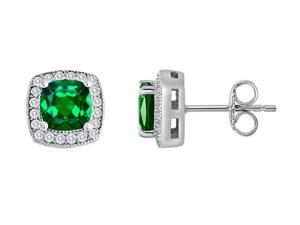 Star K Cushion Cut Simulated Emerald Halo Earring Studs in Sterling Silver