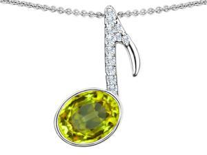 Star K Musical Note Pendant with Simulated Peridot Oval 11x9mm in Sterling Silver
