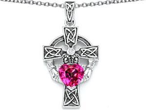 Celtic Love by Kelly Claddagh Cross pendant with 7mm Heart Shape Created Pink Sapphire in Sterling Silver