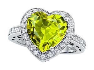 Star K Large 10mm Heart Shape Simulated Peridot Wedding Ring in Sterling Silver Size 6