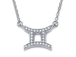 Zoe R Sterling Silver Micro Pave Hand Set Cubic Zirconia CZ Gemini Zodiac Pendant Necklace On 18 Inch Adjustable Chai